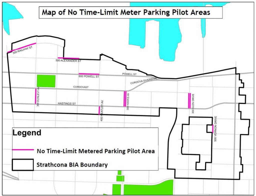 Map of No Time Limit Metered Parking Pilot Area